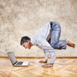 Stock Photo: Funny business yoga