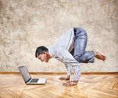 Funny business yoga — Stock Photo