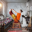 Yoga in Russian house — Stock Photo