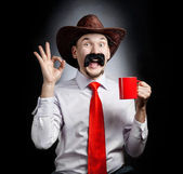 Funny Cowboy with cup — Stock Photo