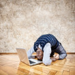 Funny business yoga - Stock Photo