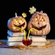 Funny Halloween pumpkins drinking wine - Stock Photo