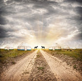 Yurt Nomadic village — Stock Photo