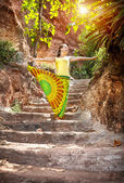 Yoga on the stairs — Stock Photo