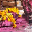 Flower garlands and incense  — Stock Photo