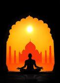 Yoga and Taj Mahal — Stok fotoğraf