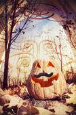 Halloween pumpkin near the gate — ストック写真