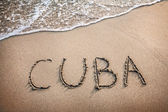 Cuba title on the sand — Stock Photo