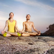 Couple Yoga meditation — Stock Photo
