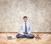 Business yoga meditation — Stock Photo
