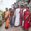 foreign woman with indian women in mamallapuram — Stock Photo