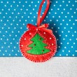 Christmas handmade felt toy — Stock Photo
