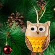 Handmade owl on the tree — Stock Photo