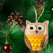 Handmade owl on the tree — Stock Photo #38298313