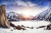 Winter-bergsee — Stockfoto