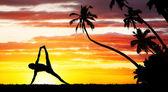 Yoga silhouet — Stockfoto