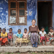 Foreign with Indian children — Стоковое фото