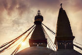 Buddhist stupas at sunset — Stock Photo