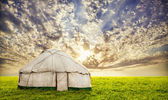 Urta nomadic house in steppe — Stock Photo
