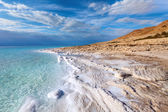 View of Dead Sea coastline at sunset time — Stock Photo