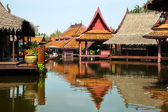 Floating market in historical park Ancient City, Bangkok, Thailand — Stock Photo