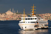 View of passenger ship and Saint Sofia mosque on the Golden Horn — Stock Photo