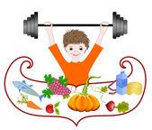 Balanced diet, health pledge — Stock Vector