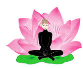 Girl meditates — Vector de stock