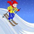 Boy skiing — Stock Vector