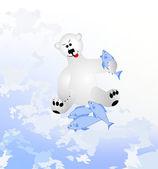 Polar bear eats the fish — Stock Vector