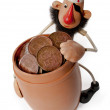 Royalty-Free Stock Photo: Pirate with a barrel of money