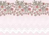 Wavy pink background with a floral border — Stok Vektör