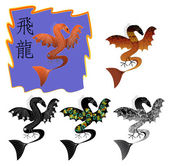 Five dragons with a combined pattern — Stock Vector