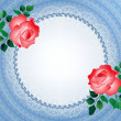 Lace round frame with red roses — Stock Vector