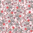 Stock Vector: Seamless pattern with bright pink hibiscus