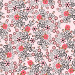 Seamless pattern with bright pink hibiscus — Векторная иллюстрация