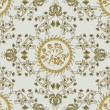 Vector de stock : Beige pattern with carnations and bells