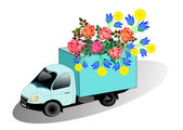 Truck with flowers — Stock Vector