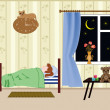 Girl is sleeping in a room with an open window leaf — Stock Vector