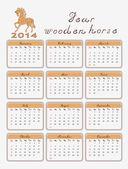 Calendar 2014 wooden horse — Stock Vector