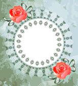 Lacy frame with roses — Zdjęcie stockowe