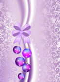 Christmas balls on the purple vintage background — Stock Vector