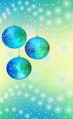 Three blue-green Christmas ball — Stock Vector