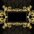 Gold frame in the rococo style on a black background — Stock Vector
