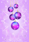 Five bright Christmas balls on a light purple background — Stock Vector