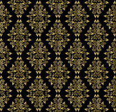 Gold leaf pattern on a black background — Vector de stock