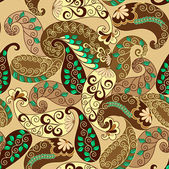 Seamless paisley in brown and yellow tones — Stock Vector