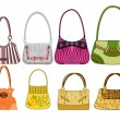 Eight female bags — Stockvectorbeeld
