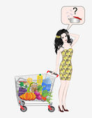 Girl with a basket full of products — Stock Vector