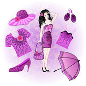 Girl on a light violet background with clothes and accessories — Stok Vektör